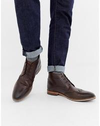 dunkelbraune Brogue Stiefel aus Leder von ASOS DESIGN