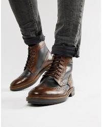 dunkelbraune Brogue Stiefel aus Leder von Base London