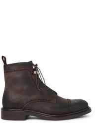 dunkelbraune Brogue Stiefel aus Leder