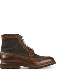 dunkelbraune Brogue Stiefel aus Leder von Brunello Cucinelli
