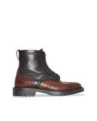 dunkelbraune Brogue Stiefel aus Leder von Burberry