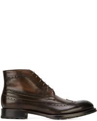 dunkelbraune Brogue Stiefel aus Leder von Canali