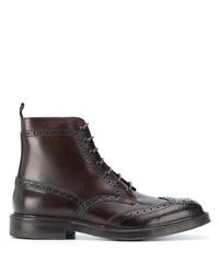 dunkelbraune Brogue Stiefel aus Leder von Corneliani