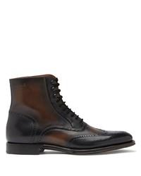 dunkelbraune Brogue Stiefel aus Leder von Dolce & Gabbana