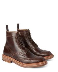 dunkelbraune Brogue Stiefel aus Leder von Grenson