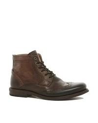 dunkelbraune Brogue Stiefel aus Leder von Kg Kurt Geiger