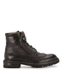 dunkelbraune Brogue Stiefel aus Leder von Magnanni