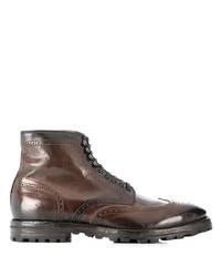 dunkelbraune Brogue Stiefel aus Leder von Officine Creative