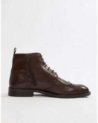dunkelbraune Brogue Stiefel aus Leder von Pier One