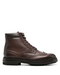 dunkelbraune Brogue Stiefel aus Leder von Santoni