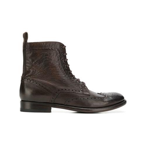dunkelbraune Brogue Stiefel aus Leder von Tagliatore