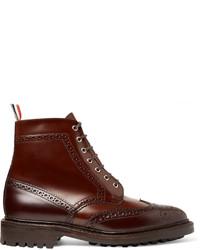 dunkelbraune Brogue Stiefel aus Leder von Thom Browne