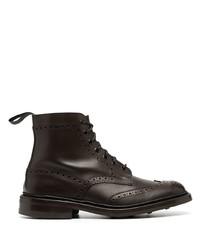 dunkelbraune Brogue Stiefel aus Leder von Tricker's
