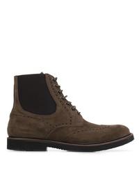 dunkelbraune Brogue Stiefel aus Wildleder von Eleventy