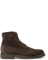 dunkelbraune Brogue Stiefel aus Wildleder von Ermenegildo Zegna