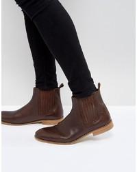 dunkelbraune Chelsea-Stiefel aus Leder von ASOS DESIGN