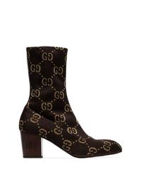 dunkelbraune Chelsea Boots aus Wildleder von Gucci