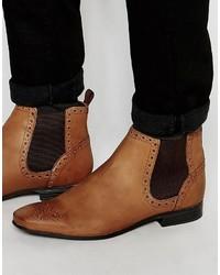 dunkelbraune Chelsea-Stiefel aus Leder von Asos