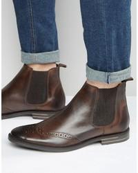 dunkelbraune Chelsea-Stiefel aus Leder von Base London