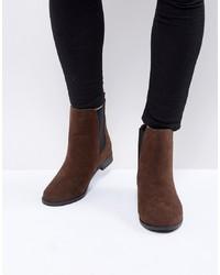 dunkelbraune Chelsea-Stiefel aus Leder von Brave Soul