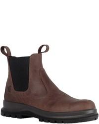 dunkelbraune Chelsea-Stiefel aus Leder von Carhartt