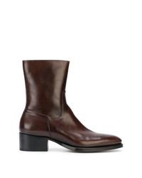 dunkelbraune Chelsea-Stiefel aus Leder von DSQUARED2