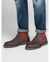 dunkelbraune Chelsea-Stiefel aus Leder von Jack & Jones