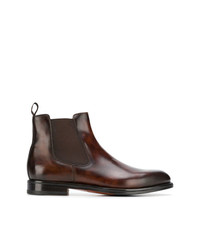 dunkelbraune Chelsea-Stiefel aus Leder von Santoni