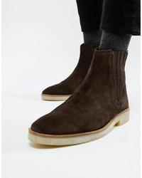 dunkelbraune Chelsea-Stiefel aus Wildleder von ASOS DESIGN