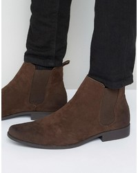 dunkelbraune Chelsea-Stiefel aus Wildleder von Asos
