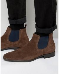 dunkelbraune Chelsea-Stiefel aus Wildleder von Dune