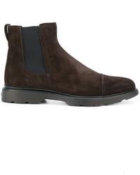 dunkelbraune Chelsea-Stiefel aus Wildleder von Hogan