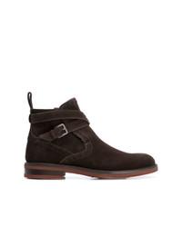 dunkelbraune Chelsea-Stiefel aus Wildleder von Salvatore Ferragamo