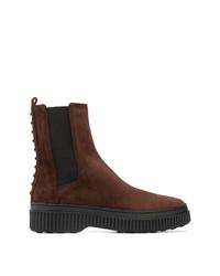 dunkelbraune Chelsea-Stiefel aus Wildleder von Tod's