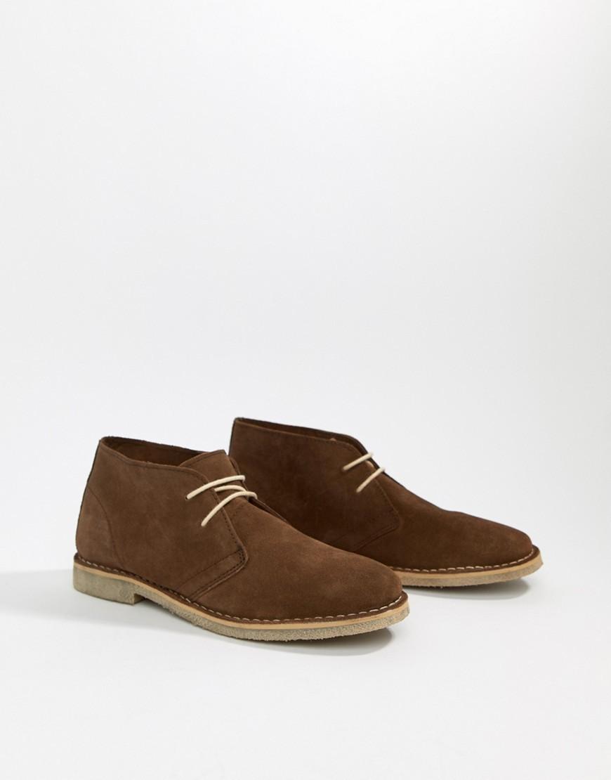 dunkelbraune Chukka-Stiefel aus Wildleder von ASOS DESIGN