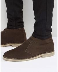 dunkelbraune Chukka-Stiefel aus Wildleder von Asos
