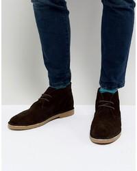 dunkelbraune Chukka-Stiefel aus Wildleder von Dune