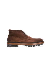 dunkelbraune Chukka-Stiefel aus Wildleder von Santoni