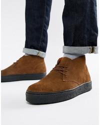 dunkelbraune Chukka-Stiefel aus Wildleder von Zign