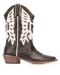 dunkelbraune Cowboystiefel aus Leder von P.A.R.O.S.H.