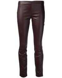 dunkelbraune enge Hose aus Leder