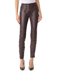 dunkelbraune enge Hose aus Leder von Just Cavalli