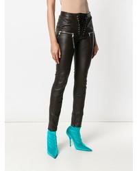 dunkelbraune enge Hose aus Leder von Unravel Project
