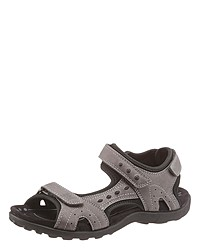 dunkelbraune flache Sandalen aus Leder von Be Mega