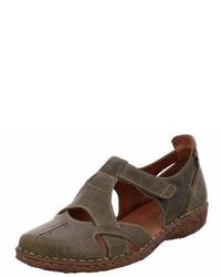 dunkelbraune flache Sandalen aus Leder von Josef Seibel