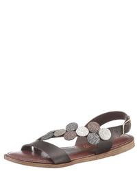 dunkelbraune flache Sandalen aus Leder von Tamaris