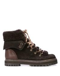 dunkelbraune flache Stiefel mit einer Schnürung aus Wildleder von See by Chloe