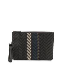 dunkelbraune geflochtene Leder Clutch Handtasche von Ermenegildo Zegna
