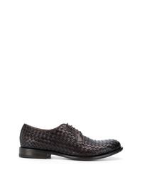 dunkelbraune geflochtene Leder Derby Schuhe von Tagliatore