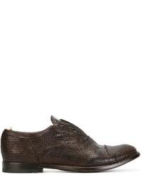 dunkelbraune geflochtene Leder Oxford Schuhe